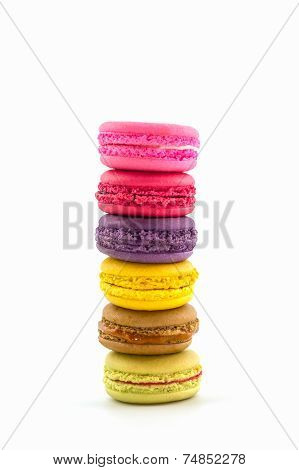 Sweet And Colourful French Macaroons Or Macaron , Dessert.