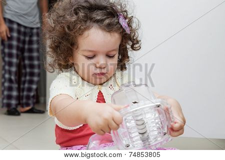 Girl Playing In The Kitchen