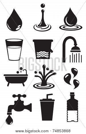 Water Icon Set Isolated On White Background