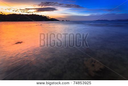Tropical Sea With Sunset Scene