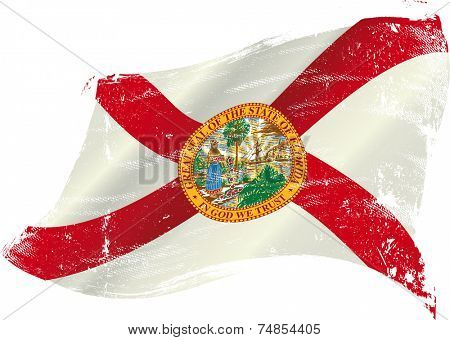 Florida grunge flag. flag of Florida in the wind with a texture