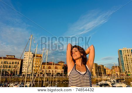 Relaxed Tourist Enjoying European Summer Vacation