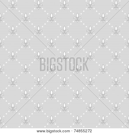 Seamless Gray Background With Royal Lilies