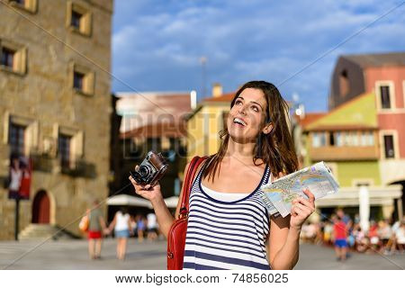 Woman Sightseeing During Travel Through Spain