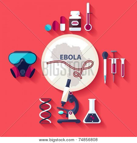 Virus Ebola. Flat design.