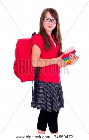 Happy Schoolgirl With Books