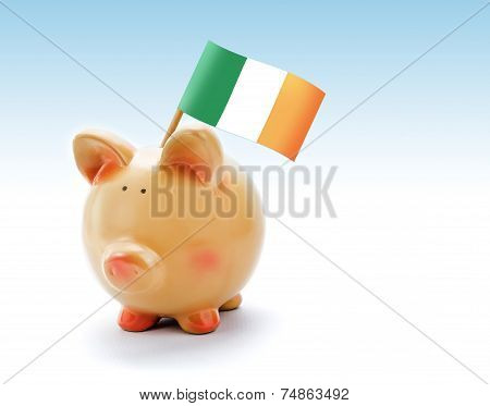 Piggy Bank With National Flag Of Ireland