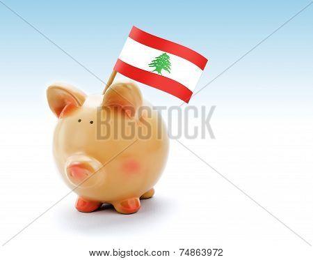 Piggy Bank With National Flag Of Lebanon