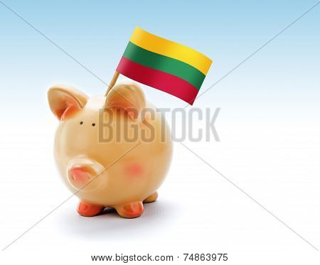 Piggy Bank With National Flag Of Lithuania