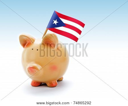 Piggy Bank With National Flag Of Puerto Rico