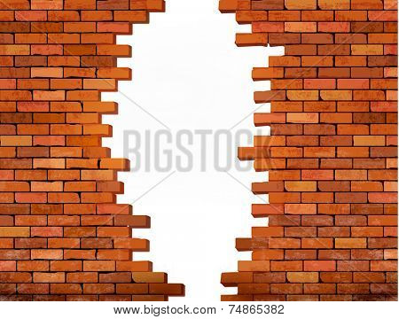 Vintage brick wall background with hole. Vector