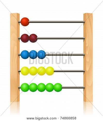 Abacus With Colorful Wooden Beads In Front Of White Background
