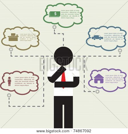 Infographic Of Businessman Thinking About His Life