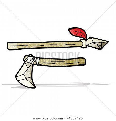 cartoon primitive axe and spear