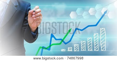 Businessman And Business Graph On A Touch Screen Interface