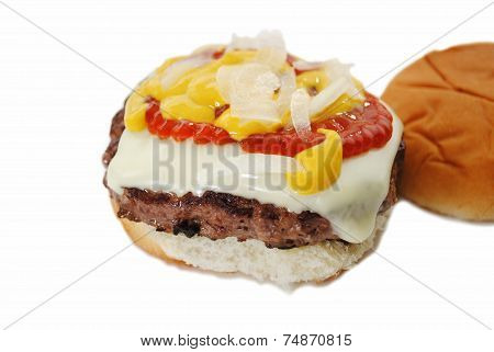 Juicy Cheese Burger With Onion, Mustard, And Catsup