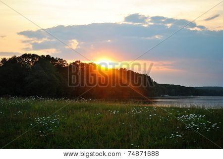 Glorious Summer Sunset On A Peacefull Pond