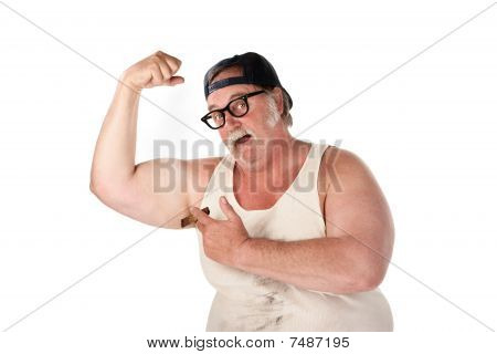 Fat Man Flexing Muscles In Tee Shirt On White Background