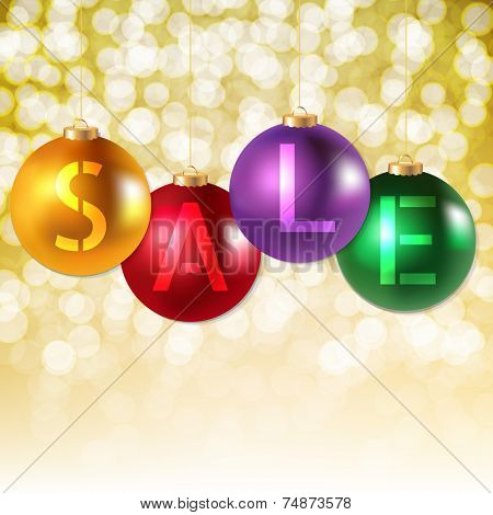 Xmas Sale Poster With Gradient Mesh, Vector Illustration