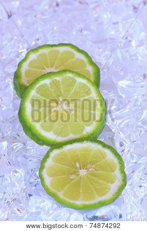 Kaffir Limes On Ice  - Stock Image