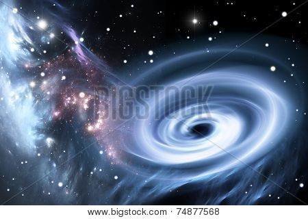 Gas and dust falls into a black hole