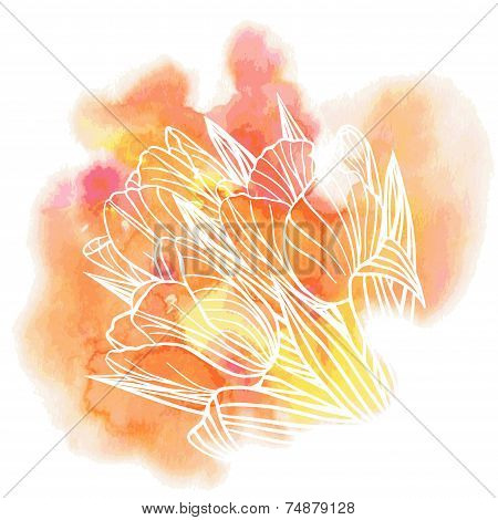 Tulip flowers on a watercolor background