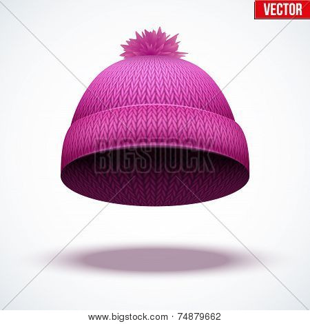 Knitted woolen cap. Winter seasonal pink hat. vector illustration