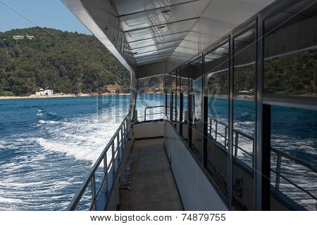 Deck Of Trimaran That Is Going Near Costa Brava Coastline.