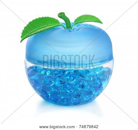 Gel fragrance air freshener isolated on white