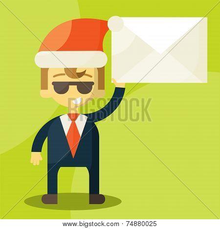 Happy businessman in Santa Claus hat. Good credit card