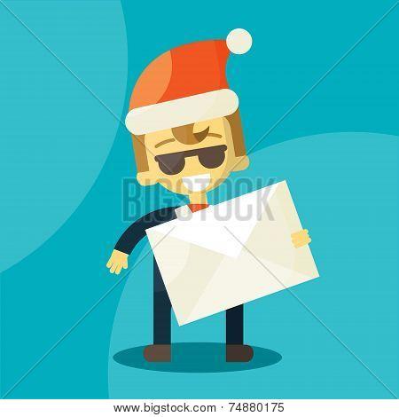 Happy businessman in Santa Claus hat. Letter
