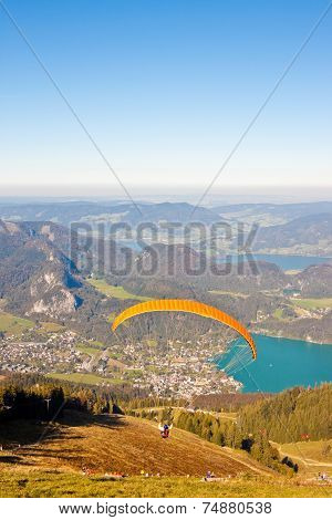 Paragliding Over Mountains And Lake
