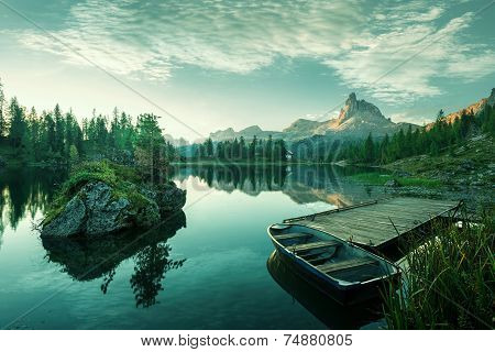 Italy Dolomites - the beautiful lake at dawn to reveal a bluish green world
