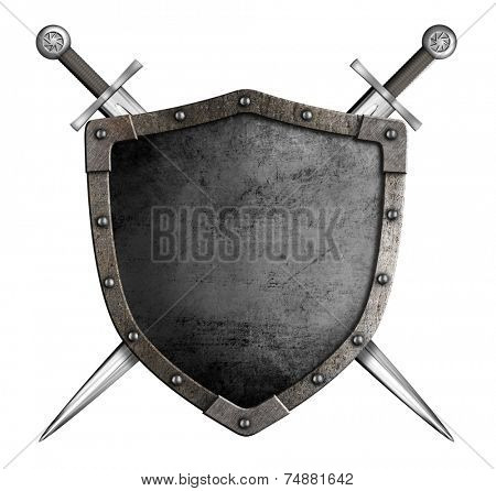 coat of arms medieval knight shield and sword isolated on white