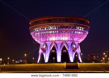 KAZAN, RUSSIA - AUGUST 18, 2013: New palace wedding illuminated at night in kazan russia
