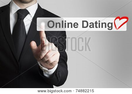 Businessman Pushing Flat Button Online Dating Heart Symbol
