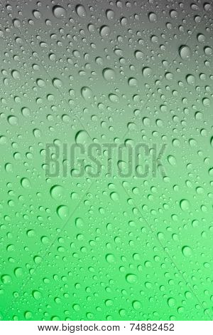 Water Droplets On A Green And Grey