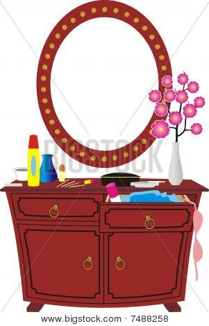 Cheval, mirror and women's accessories