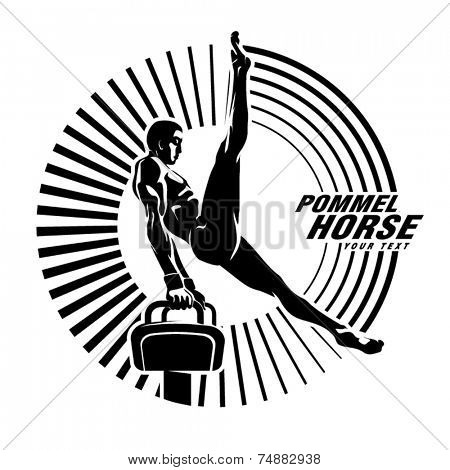 Athlete on the pommel horse. Vector illustration in the engraving style