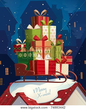 Santa's sleigh. Christmas card \ poster \ banner. Vector illustration.