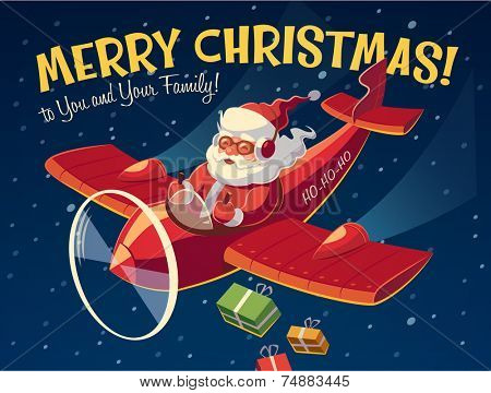 Santa's plane. Christmas card \ poster \ banner. Vector illustration.
