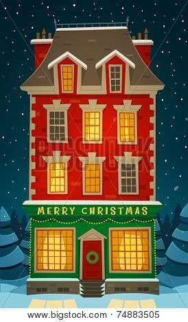 Holiday in the house. Christmas card \ poster \ banner. Vector illustration.