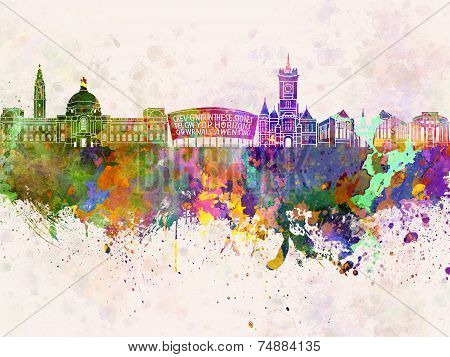 Cardiff Skyline In Watercolor Background