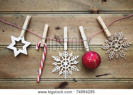 Christmas ornaments on a wooden background