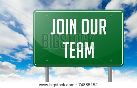 Join Our Team on Green Highway Signpost.