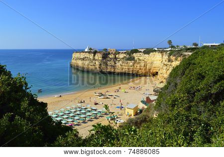 The fishing village, Senhora Da Rocha Beach on the Algarve in Portugal