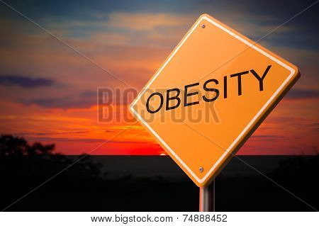 Obesity Inscription on Warning Road Sign.