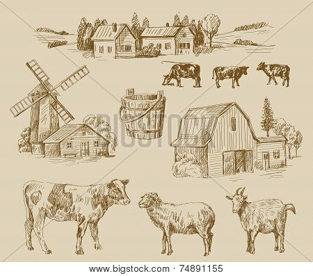 farm hand drawn