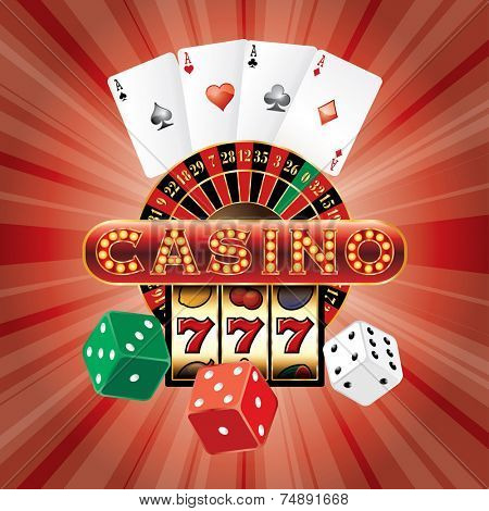 vector gambling casino elements on red burst background