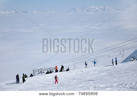 Skiers On The Slope In Kitzsteinhorn Ski Resort, Austria